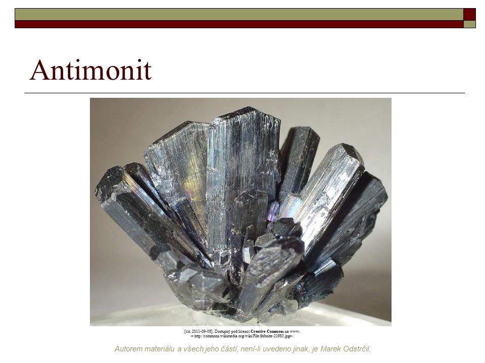 Antimonit [cit. 2011-09-08]. Dostupný pod licencí Creative Commons na www: < http://commons.wikimedia.org/wiki/File:Stibnite-21985.jpg>.